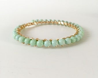 Mint Green Wire Wrapped Gold Bangle Bracelet