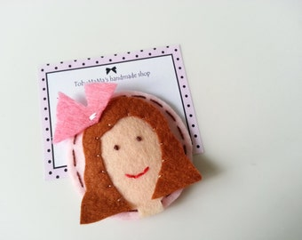 Pink Pretty Girl  Felt Hair Clip