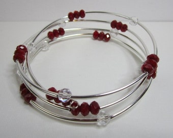 Bracelet:Red & Clear Crystal Beads