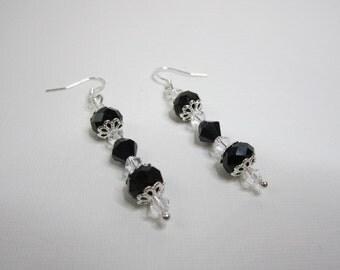 Black Crystal Earrings (Victorian Era Inspired)