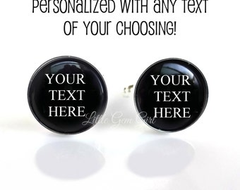Custom Text Cuff Links - Personalized with Your Image Logo or Text - Photo Cufflinks - Art Business Wedding - Sterling Silver or Stainless