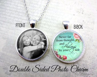 Best Friend Sister Necklace - Double Sided Personalized Photo Necklace - Custom Picture Jewelry - Wedding Bouquet Memorial Charm