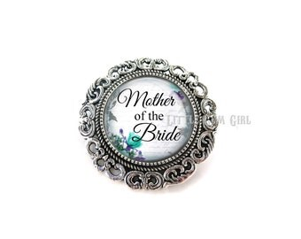 Mother of the Bride Wedding Brooch - Silver Wedding Boutonniere - Mom of the Bride Pin - 14 Stylish Backgrounds & 2 Brooch Options