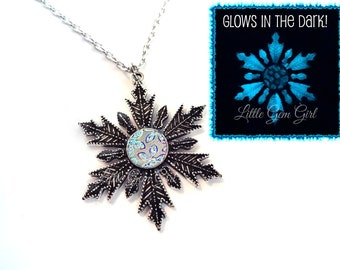 Glow in the Dark Snowflake Charm with Rainbow iridescent Flower - Glowing Snowflake Necklace - Fantasy Fairy Once Upon a Time Frozen Jewelry