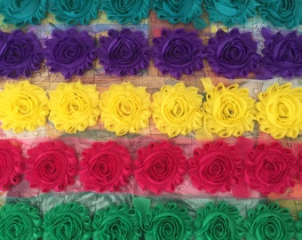 5 Yards Shabby Flowers - Teal , Purple , Yellow , Fuschia and Emerald Green