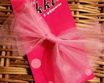 Pink Bowtie Tulle Tutu Hair Bow