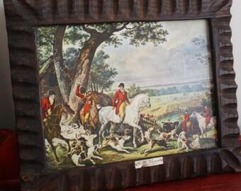 Vernet Equestrian Horse Prints Framed Rustic