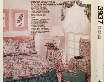 McCall's Crafts 3937 Cover Essentials Pattern, McCall's Home Center, Instructions for Making Tablecloth, Pillows, Shams, Ottoman