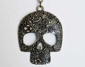 Sugar Skull Necklace by Miss Atomic - Large - FREE SHIPPING