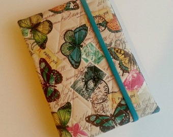 Kindle/Nook/iPad mini Cover/case in Teal Butterfly print