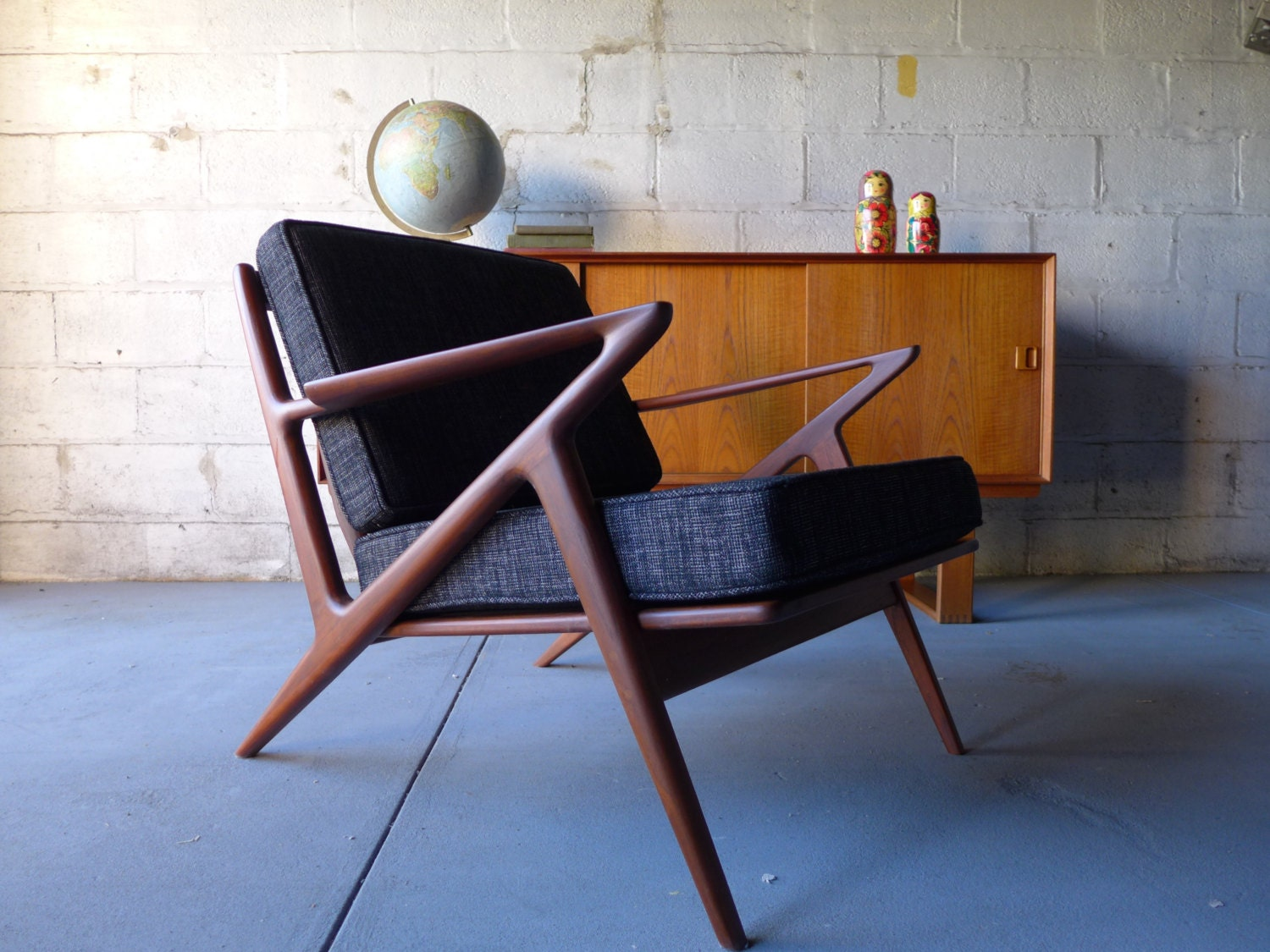 Reserved for scott mid century modern styled lounge chair - Selig z chair reproduction ...