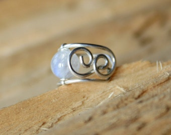 Moon - tiny wire ear cuff with rainbow moonstone bead sterling silver copper silver filled available