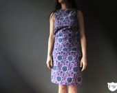 Purple Floral Boho Ethnic Sheath Dress , 50s Style Small, Handmade Design