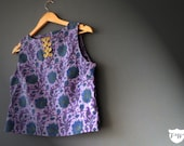Purple Floral Boho Ethnic Crop Top, 60s Style Small, Handmade Designs