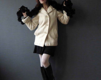 60s Ivory Buttermilk Cream Mohair Wool Pea Coat Short Jacket Small