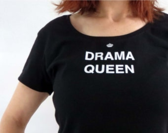Drama Queen Print T shirt Womens Black White Size 10 S-M