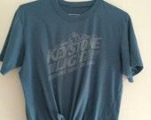 Keystone Light Beer Everyone Loves Big Cans Crop Top Tee Shirt Blue Tshirt