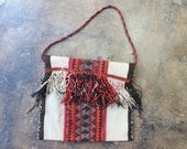 Fringed Kilim Bag / Vintage Greek Tapestry Purse / Bohemian Kilim Handbag