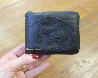 Saddle Wallet / Vintage Black Leather Bill Fold / Western Zip Coin Purse
