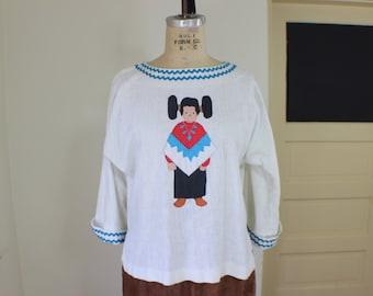 Hopi Women Blouse / Southwest Cotton Top  / Vintage Women's Wear