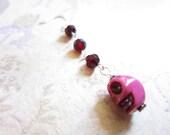 Dark Red Swarovski Crystal Pink Skull Earring TCJG