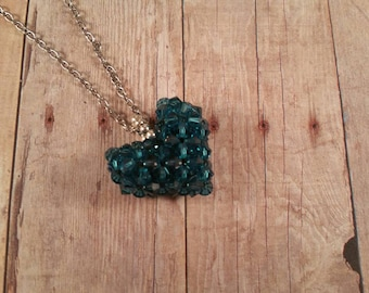 SUMMER SALE - Swarovski Crystal Puffy Heart Woven Pendant with Chain Necklace - Indicolite Color