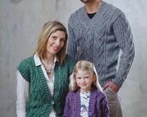 Womens Knitting Pattern K4553 Ladies/Mens/Boys/Girls Cable Jumper, Waistcoat & Cardigan Knitting Pattern Aran (Worsted) King Cole