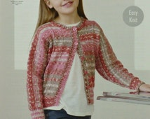Girls Knitting Pattern K4451 Childrens Easy Knit Long Dolman Sleeve Round Neck Cardigan Knitting Pattern DK (Light Worsted) King Cole