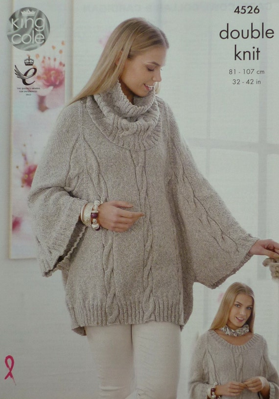Knitting Pattern For Cape With Sleeves : Womens Knitting Pattern K4526 Ladies Long Sleeve Cable Cape
