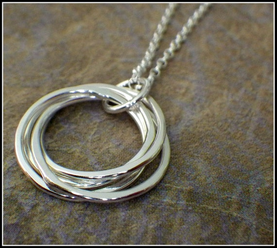 4 rings necklace interlocking rings 40th birthday necklace