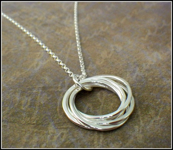 5 Rings Necklace Interlocking Rings 50th Birthday Necklace