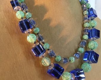 Blue Cube and Green Sphere Crystal Gradated Necklace 37 Inches Long Vintage