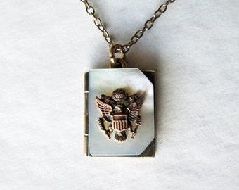 1940's Sweetheart Locket Army Emblem Gold Vermeil