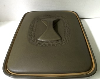 Denby Chevron / Camelot Pottery Covered Serving Dish Divided Unusual bow-tie handleGill Pemberton 1960's
