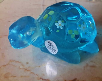 FENTON Glass Turtle Blue Opalescent Hand Decorated Artist Signed Original Sticker  Tortoise Floral Design