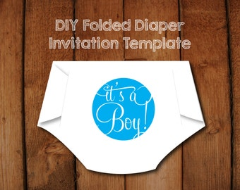 DIY Folded Diaper Baby Shower Invitation Template with Instructions - Blue It's a Boy version