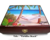 "Gift Ideas ! Vintage Cigar Boxes with artworks. ""Paradise Beach"""