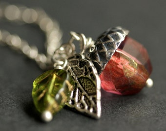 Acorn Necklace. Sunset Berry Crystal Acorn Pendant. Crystal Necklace. Silver Acorn Charm Necklace. Red Acorn Jewelry Handmade Jewelry.