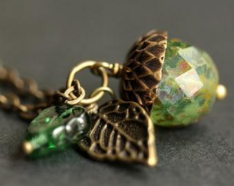 Acorn Necklace. Evergreen Acorn Pendant. Crystal Acorn Charm Necklace. Bronze Acorn Jewelry. Green Acorn Crystal Necklace. Handmade Jewelry.
