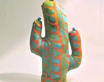 Batik Fabric Saguaro Cactus Glasses Jewelry Display SHORT Style CACTUS-Stand