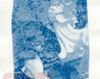 "Angels - 5""x7"" Cyanotype from Holga Photograph"
