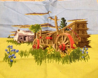 LARGE  Crewel embroidery  picture, wagon and old homestead