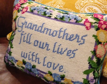 Needlepoint front pillow grandmother teal blue velvet back