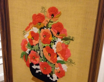LARGE Flower poppy Crewel embroidery  picture and frame Orange poppies