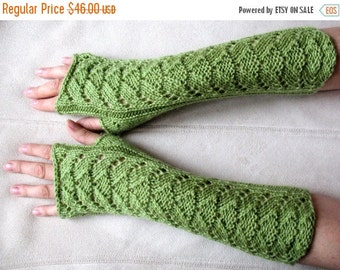Long Fingerless Gloves Wrist Warmers olive green Arm Warmers, Soft Acrylic