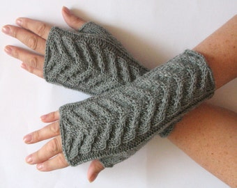 """Gray Fingerless Gloves Mittens 8"""" Arm Warmers , Soft acrylic, wool"""