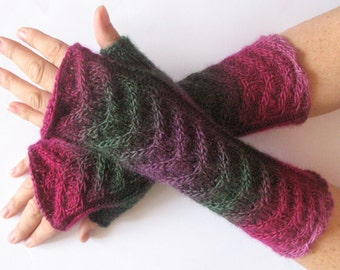 Fingerless Gloves Purple Pink Red Moss Green Arm Warmers Knit Soft