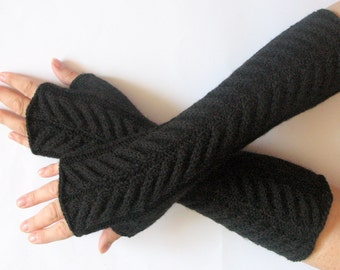 "Fingerless Gloves Mittens black 13"" Arm Warmers, Acrylic"