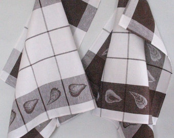 Kitchen Towels Linen Cotton Dish Towels Brown White striped checkered Tea Towels set of 2