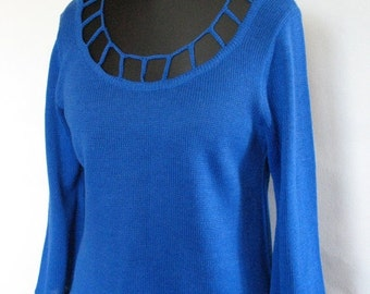 Top Tunic Sweater Clothing Acrylic Wool Blue with Lace knitted